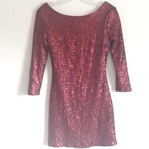 Tobi Red Sequins Mini Long Sleeve Dress sz XS